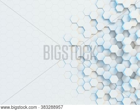 Hexagonal Abstract 3d Background, White Wall With Hexagonal Pattern 3d Rendering