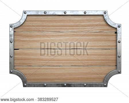 Wooden Medieval Sign Board With Metal Frame Isolated On White Background 3d Rendering