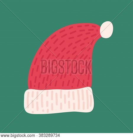 Traditional Red Santa Hat. Funny Holiday Clothes. Traditional Element Isolated On Green Background.