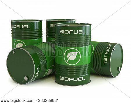 Biofuel Barrels With Biofuel Symbol 3d Rendering