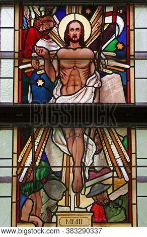 SVETI IVAN ZABNO, CROATIA - JUNE 26, 2013: Resurrection stained glass window in the church of St John the Baptist in Sveti Ivan Zabno, Croatia
