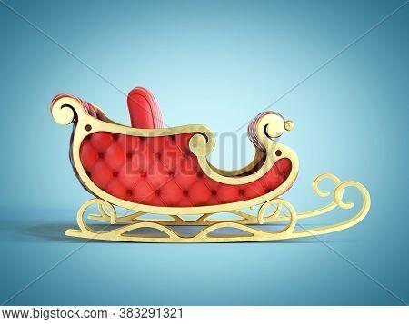 Christmas Santa Sleigh, Red And Golden Sledge 3d Rendering