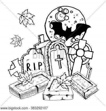 Halloween Composition - Headstone And Celtic Cross Full Moon Autumn Leaves Black Bats Silhouette. Ha