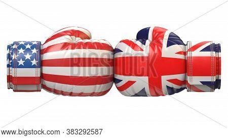 Usa Against Uk Boxing Glove, America Vs. United Kingdom, Great Britain International Conflict Or Riv