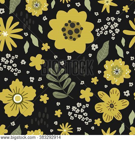 Yellow Flowers With Leaves Seamless Pattern, Vector Hand Drawing Greeting Card Template