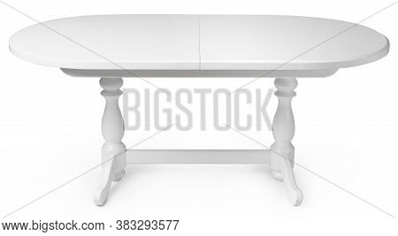 Oval Wooden Classic Table Isolated On White