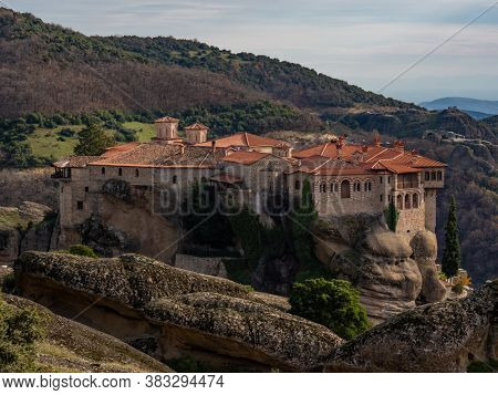 The Holly Monastery of Meteora  Greece. sandstone rock formations.