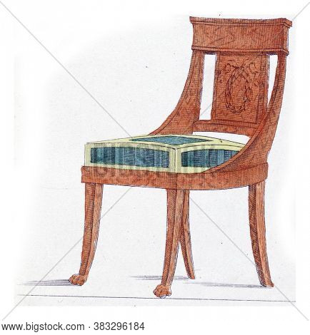 Elegantia, or magazine of fashion, luxury and taste for women, April 1809, Objects of taste, A furniture chair made of mahogany wood to the newest taste, vintage engraving.