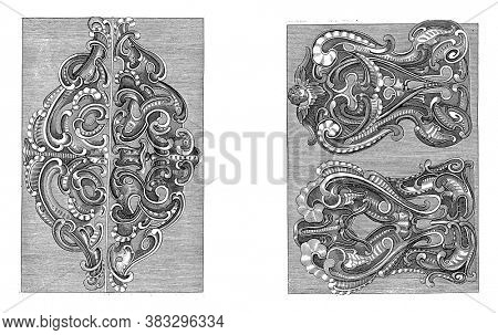 Two representations on a two-part album sheet. On the left two lobe style ornaments, vintage engraving.