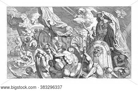 While Odysseus is sleeping, his companions open the bag of headwinds that Aeolus has given them. The winds are escaping and the passengers are trying to find a safe haven, vintage engraving.