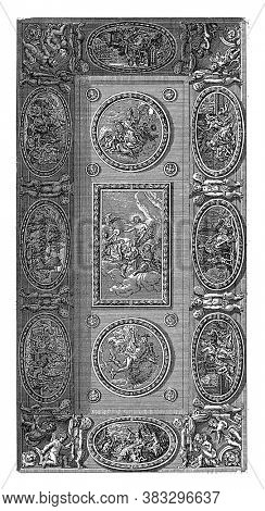 Ceiling piece with Apollo, Minerva and Mercury and the personifications of the liberal arts, Pieter Sluyter, vintage engraving.