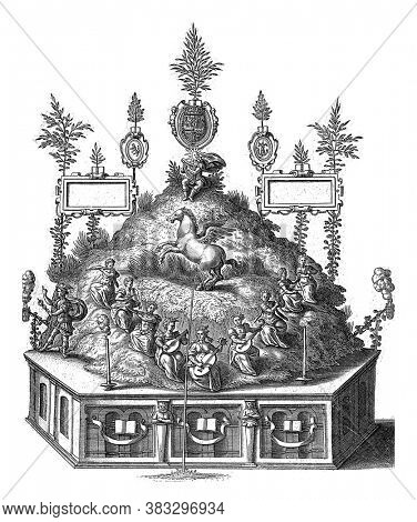 Theater with Apollo on the Parnassus. With the horse Pegasus and nine Muses making music, on the left Mercury, vintage engraving.