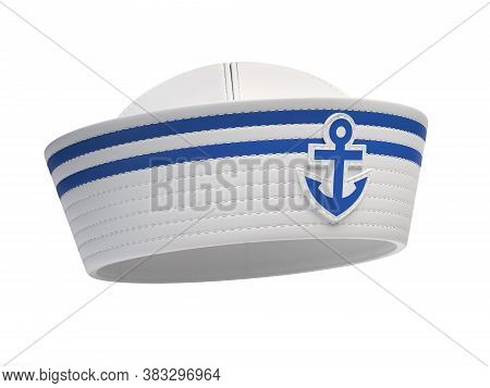 Sailor Hat With Blue Anchor Emblem Isolated On White Background 3d Rendering