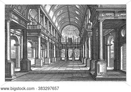 Interior of a Church, Hendrick Hondius (I), after Paul Vredeman de Vries, 1620 Interior of a Church with Columns of the Tuscan and Ionic Order. A canopy in the choir, vintage engraving.