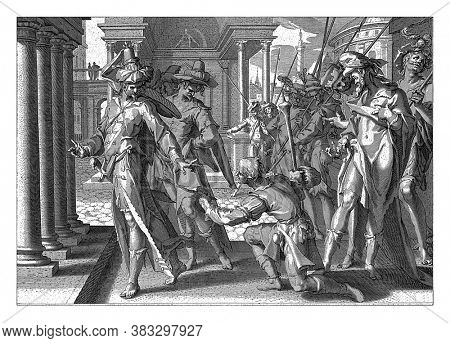 A man kneels and presents a plea or indictment to a royal judge. He refuses to accept the paper, vintage engraving.