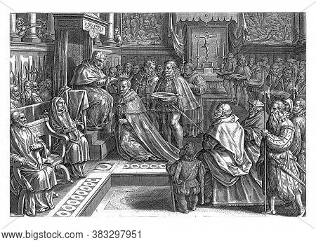 Coronation of Cosimo De 'Medici in 1569, Philips Galle, after Jan van der Straet, 1583 In 1569, vintage engraving.