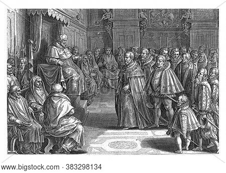 Cosimo de 'Medici for the College of Cardinals and Pope Pius V, Philips Galle, after Jan van der Straet, 1583 Cosimo de' Medici for the College of Cardinals and Pope Pius V, vintage engraving.