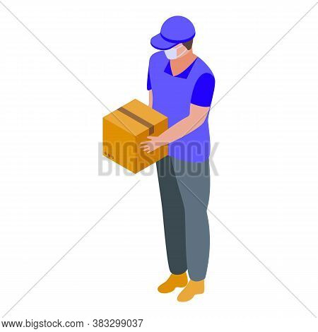 Courier In Mask Home Delivery Icon. Isometric Of Courier In Mask Home Delivery Vector Icon For Web D