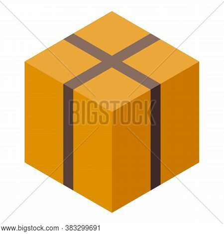 Parcel Delivery Carton Box Icon. Isometric Of Parcel Delivery Carton Box Vector Icon For Web Design