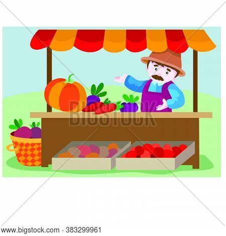 A Tray With Vegetables Behind Which Is A Seller In A Hat And Sells, Cartoon Illustration, Vector, Ep