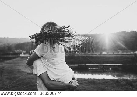 Photo Married Couple Hugging, Husband And Wife Near Lake. Close Up. Summer. Portrait Of A Romantic Y