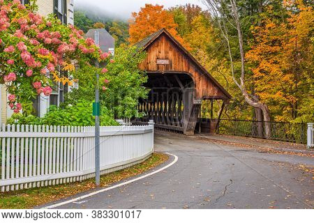 Woodstock, Vermont, USA at the Middle Covered Bridge.