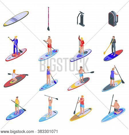 Sup Surfing Icons Set. Isometric Set Of Sup Surfing Vector Icons For Web Design Isolated On White Ba