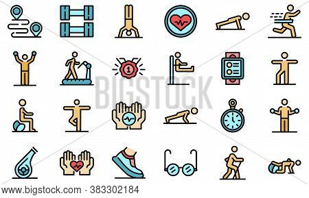 Workout Seniors Icons Set. Outline Set Of Workout Seniors Vector Icons Thin Line Color Flat On White