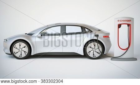 Electric Car Charging Station, Electric Vehicle Concept 3d Rendering