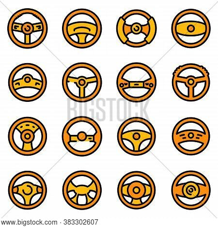 Steering Wheel Icons Set. Outline Set Of Steering Wheel Vector Icons Thin Line Color Flat On White