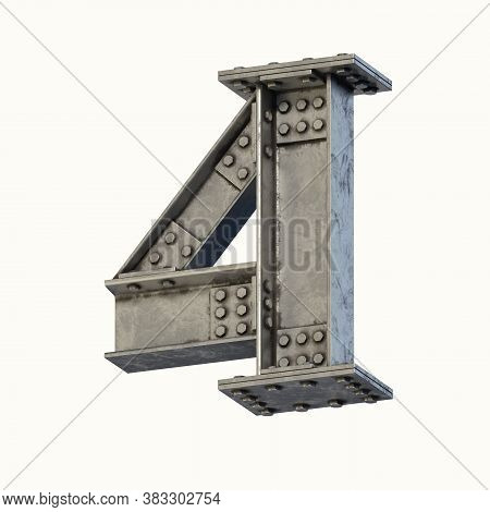 Steel Beam Font 3d Rendering Number 4, Three Dimensional Object