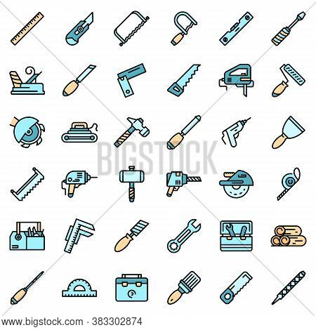 Carpenter Tools Icons Set. Outline Set Of Carpenter Tools Vector Icons Thin Line Color Flat On White