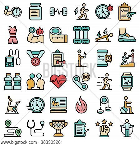 Personal Trainer Icons Set. Outline Set Of Personal Trainer Vector Icons Thin Line Color Flat On Whi