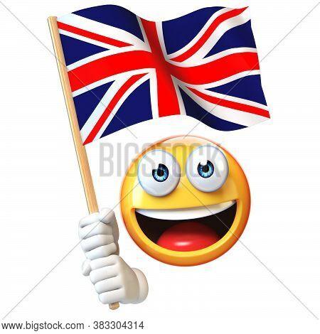 Emoji Holding Union Jack Flag, Emoticon Waving National Flag Of Great Britain 3d Rendering