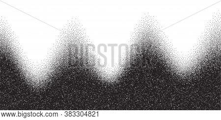 Dotwork Mountain Pattern Vector Background. Black Noise Stipple Dots. Sand Grain Effect. Black Dots