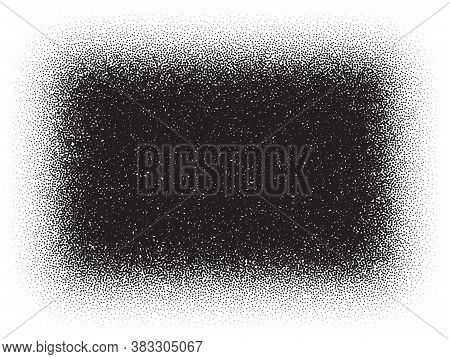 Dotwork Rectangle Pattern Vector Background. Sand Grain Effect. Black Noise Stipple Dots. Abstract N