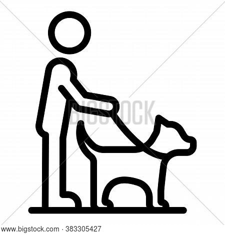 Blind Man With Dog Icon. Outline Blind Man With Dog Vector Icon For Web Design Isolated On White Bac