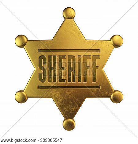 Golden Sheriff Badge Isolated On White Background 3d Rendering