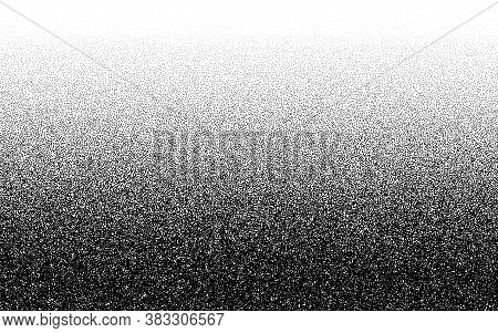 Dotwork Gradient Pattern Vector Background. Black Noise Stipple Dots. Sand Grain Effect. Black Dots