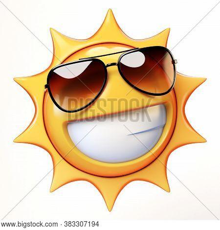 Cartoon Sun With Sunglasses Emoji Isolated On White Background, Sunshine Emoticon 3d Rendering