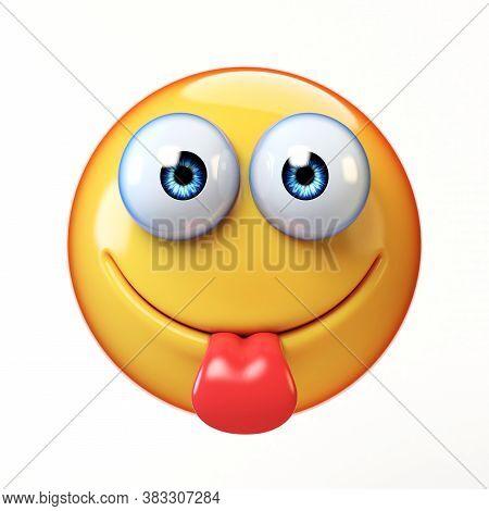 Yummy Emoji Isolated On White Background, Sticking Tongue Emoticon 3d Rendering