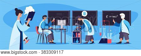 Scientific Laboratory Research Work Flat Banner With Scientists Technicians Using Chemical Test Tube