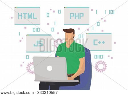 Programmer At Working With Different Coding Languages. Concept Of Freelance Coder Or Outsouce Worker