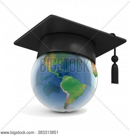 Graduation Cap On Top Of The Globe 3d Rendering