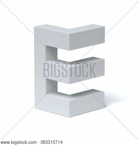 Isometric Font 3d Rendering Letter E, Three Dimensional Object