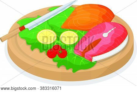 Cut Up Tuna Fish And Salmon Minnow On Wooden Kitchen Board Concept Isolated On White, Cartoon Vector