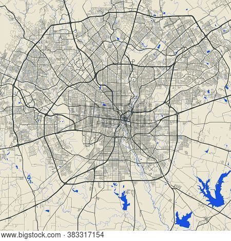 San Antonio City Map Poster. Map Of San Antonio Street Map Poster. San Antonio Map Vector Illustrati