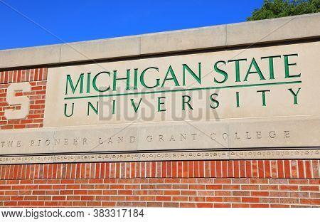 EAST LANSING, MI - AUGUST 22,2020 : Michigan State University sign at the entrance located in East Lansing,MSU is one of the largest public universities in the USA