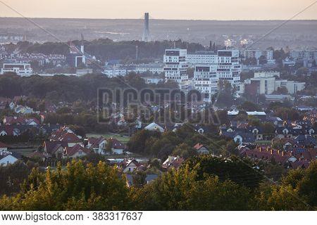 Panorama Of Rzeszow At Sunset. Rzeszow, Subcarpathia, Poland.