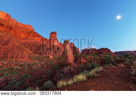 Fisher Towers in Utah, unusual natural landscapes in the dusk after sunset